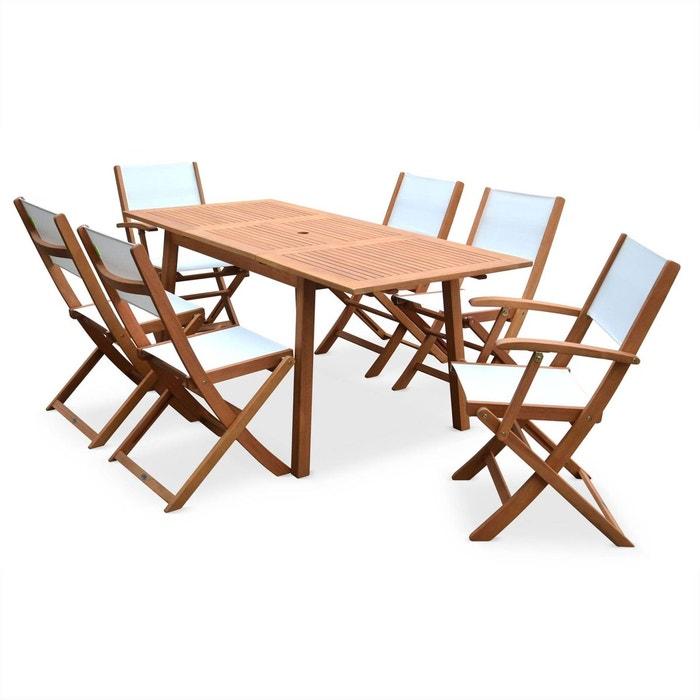 Salon de jardin en bois almeria, table 120-180cm rectangulaire, 2 ...