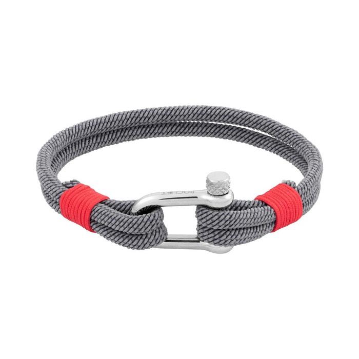 Bracelet en Corde Grise et Acier ROCHET image 0
