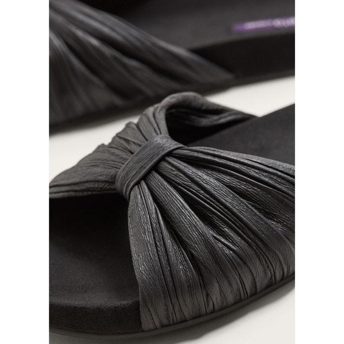 Sandales plates à n?uds noir Violeta By Mango