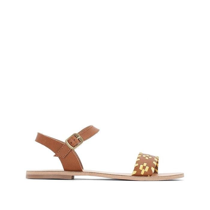 Sandales plates cuir jaune La Redoute Collections