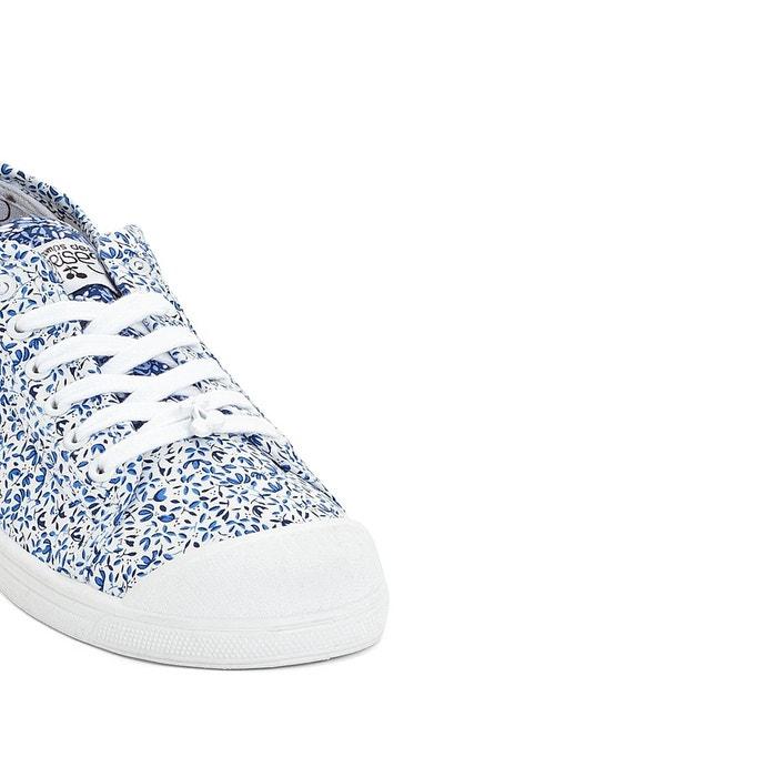 Baskets basic 02 blanc/imprimé bleu Le Temps Des Cerises
