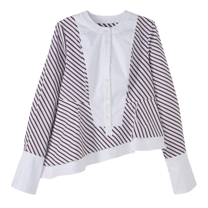 afbeelding Gestreepte asymmetrische blouse met volant CARVEN