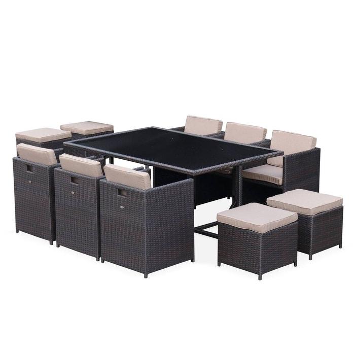 daa0bd302b2547 Salon de jardin Vasto Chocolat table en résine tressée 6 à 10 places,  fauteuils encastrables