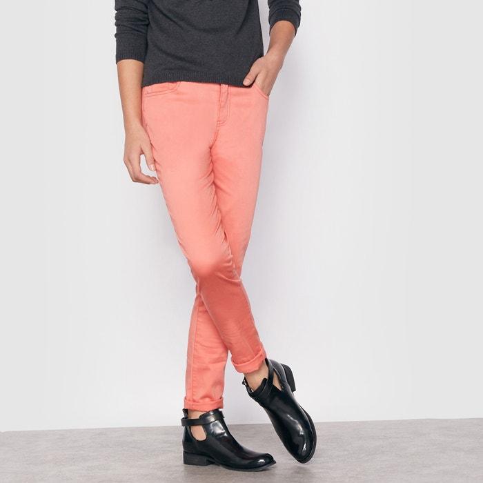 afbeelding Slim broek in gekleurd satijn 10-16 jr La Redoute Collections