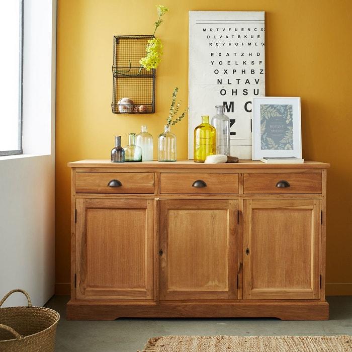 buffet en bois de teck brut qualite premium 3 portes 3. Black Bedroom Furniture Sets. Home Design Ideas