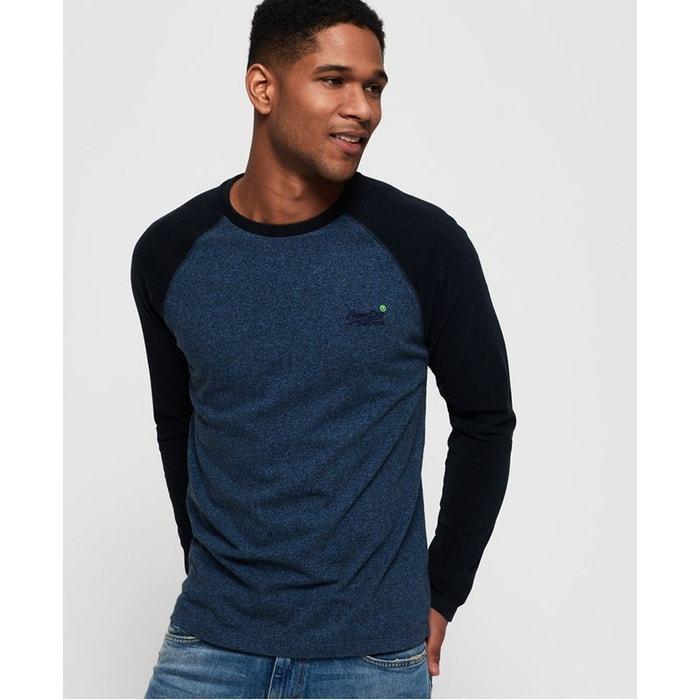 b6b1eaf64a23 T-shirt de baseball à manches longues orange label poussière bleu boisé  Superdry