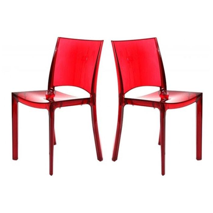 Lot De 2 Chaises Rouge Transparent SOMMET DECLIKDECO Image 0