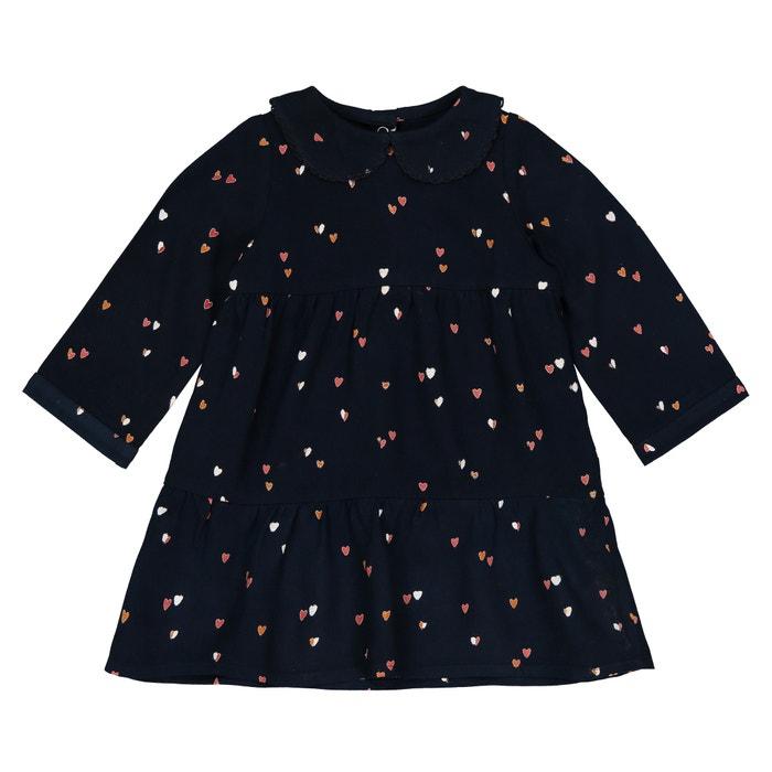 Vestido com gola claudine, estampado coração, 1 mês - 3 anos  La Redoute Collections image 0