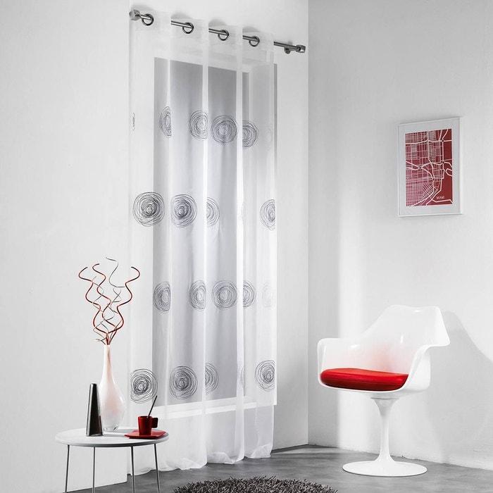 voilage pr t poser 140x240 cm tornado blanc et gris decoratie la redoute. Black Bedroom Furniture Sets. Home Design Ideas