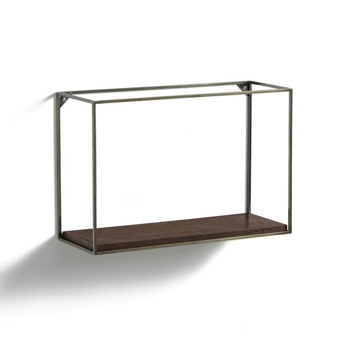 oshota horizontal metal walnut shelving unit walnut am. Black Bedroom Furniture Sets. Home Design Ideas