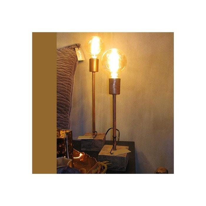 lampe chevet cuivre et bois solo marron millumine la redoute. Black Bedroom Furniture Sets. Home Design Ideas
