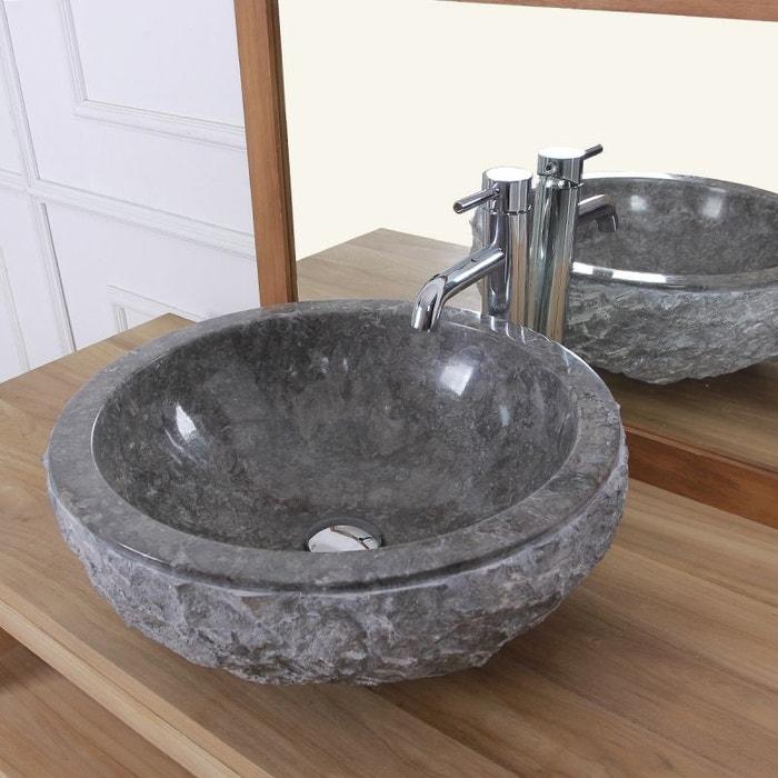 vasque pierre grise Vasque bol rude en pierre de marbre gris pierre naturelle Bois Dessus Bois  Dessous | La Redoute
