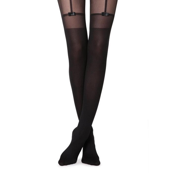 2f958dc4946 Collant effet chaussettes hautes et porte-jarretelles avec noeuds noir -  019 - nero Calzedonia