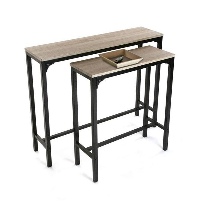 table console laqu e noire bois clair natacha b la redoute. Black Bedroom Furniture Sets. Home Design Ideas