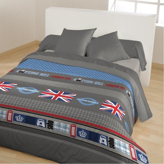 couette 400g imprim e notting hill anthracite bleu calin la redoute. Black Bedroom Furniture Sets. Home Design Ideas
