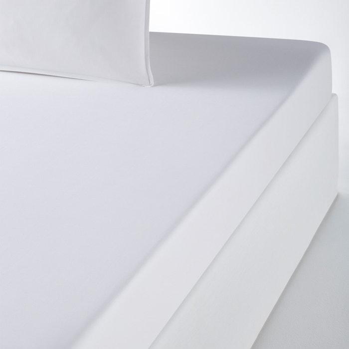 Organic Cotton Percale Plain Fitted Sheet  La Redoute Interieurs image 0