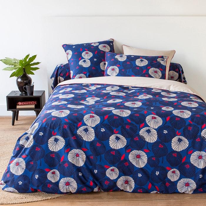 Housse de couette en percale de coton enako imprim bleu for La redoute housse de couette bicolore