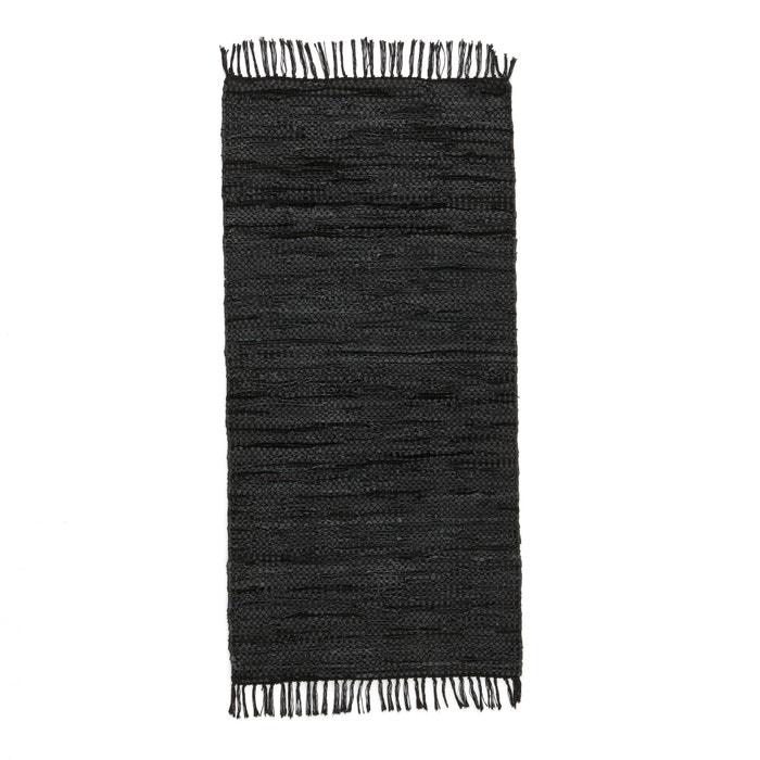 tapis de couloir ou descente de lit cuir lekar la redoute interieurs noir la redoute. Black Bedroom Furniture Sets. Home Design Ideas