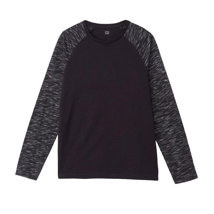 2953a67c8656 T-shirt col rond manches longues type marinière noir La Redoute Collections