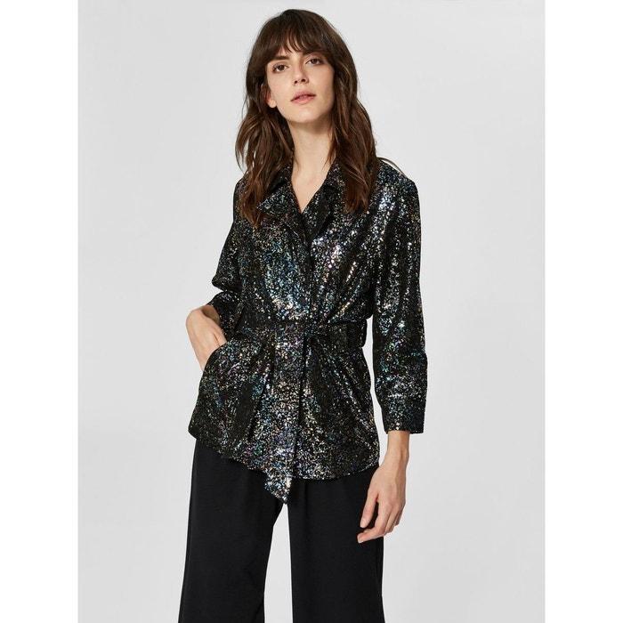 Veste en cuir paillettes - black Selected Femme   La Redoute ded0993c42f2