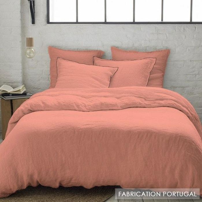 taie d 39 oreiller rose poudr carr avec bourdon noir en lin lav f minin lin blush rose selene. Black Bedroom Furniture Sets. Home Design Ideas