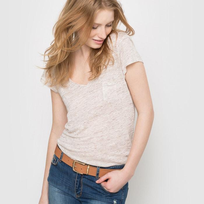 Image T-shirt scollo a V maniche corte in puro lino R studio