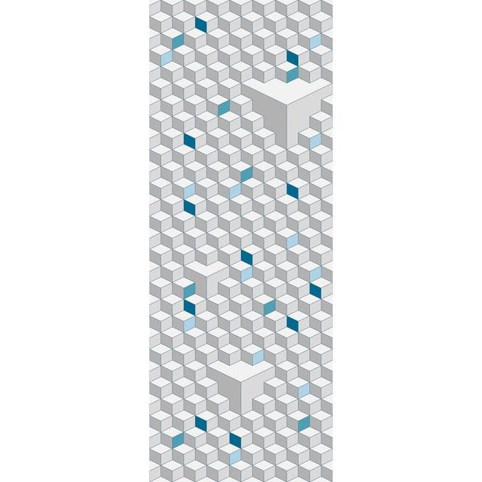papier peint l unique cubic bleu gris lgd01 la redoute. Black Bedroom Furniture Sets. Home Design Ideas