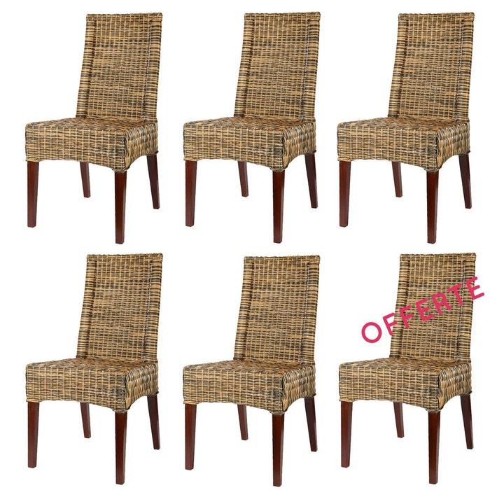 Lot 6 chaises en rotin marron desna chaises de salle for La redoute chaises de salle a manger