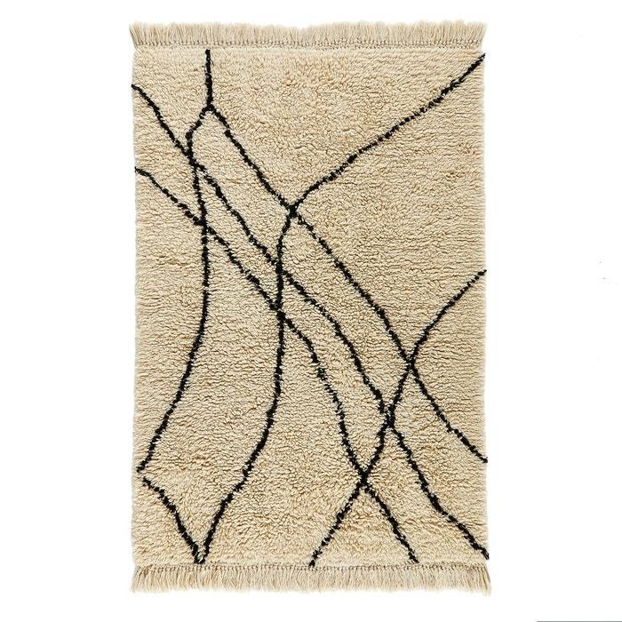 tapis style berb re en laine louka ecru noir am pm la. Black Bedroom Furniture Sets. Home Design Ideas