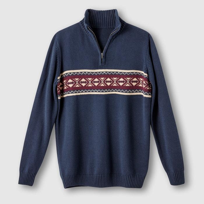 Image Jacquard Jumper/Sweater with Zip-Up Collar CASTALUNA FOR MEN