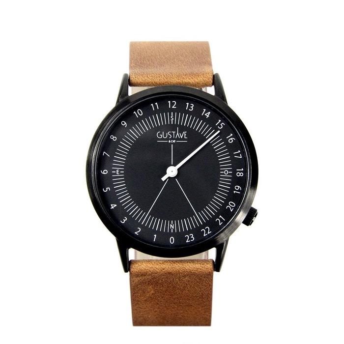 Montre 24h bracelet en cuir noir Gustave Et Cie | La Redoute Cote De Sécurité De Qualité O1SDaqrw