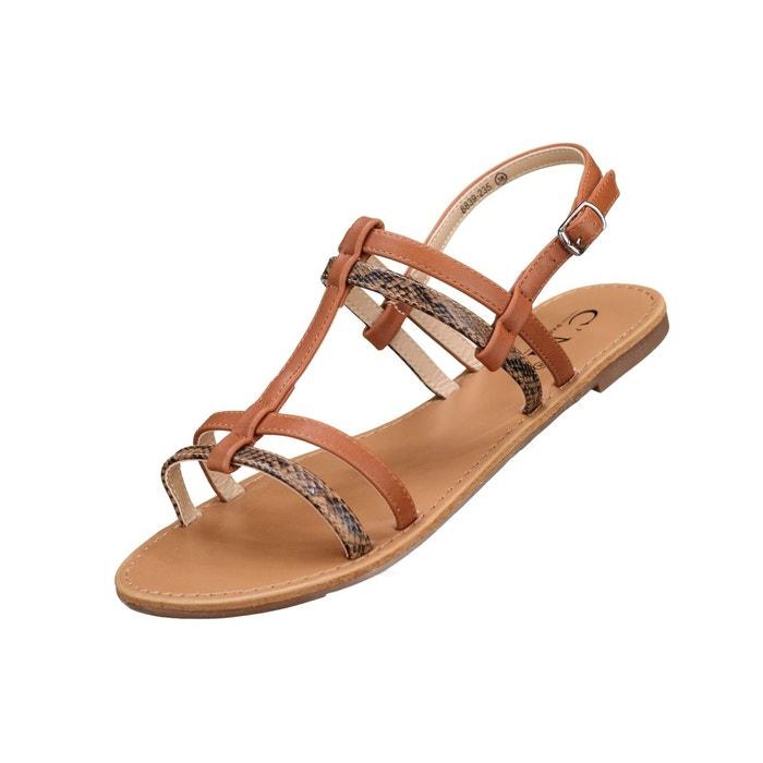 Sandales à lanières beige Leader Mode