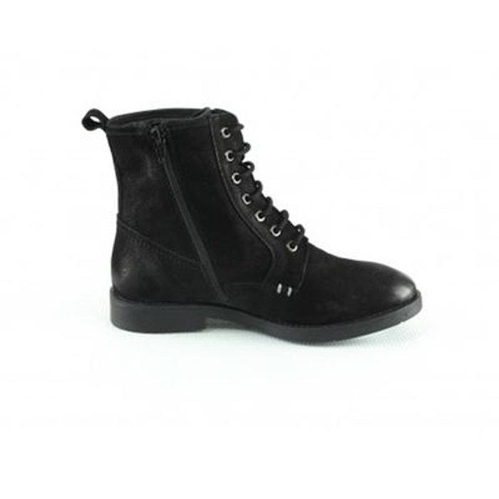 de cuir à Bottines Manoukian noir en lacet montante Shoes croute BZqwZR