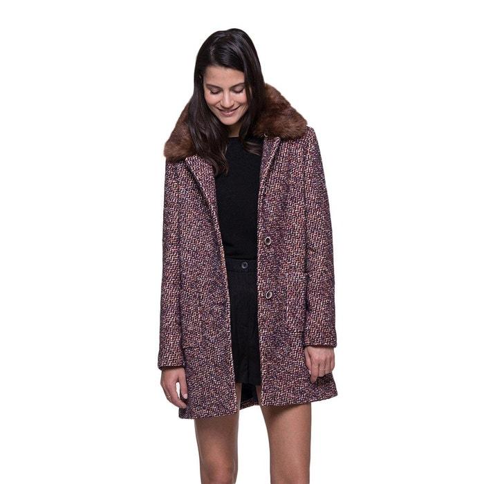 Coat Tweed Col Manteau Fourrure Fausse Avec Amovible En La Trench And Multicolore Redoute vqF1FHd