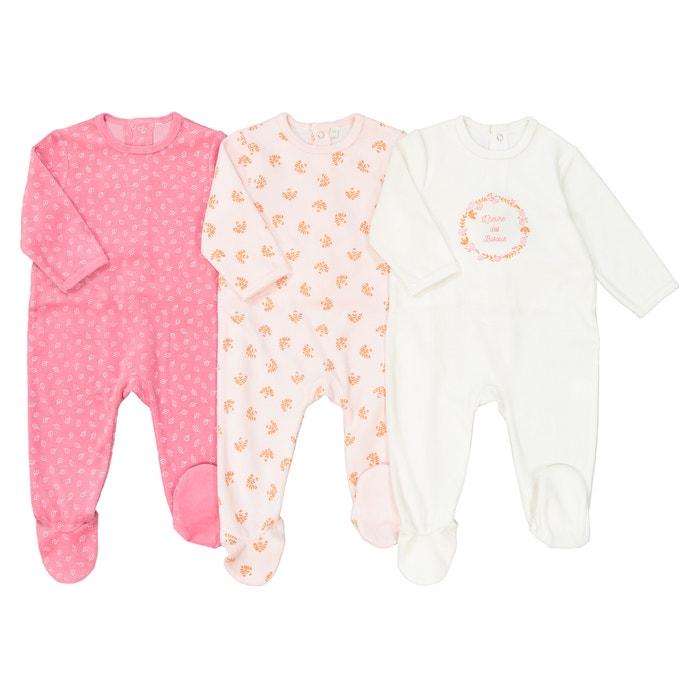 d061ee79b4c56 Lot de 3 pyjamas en velours 0 mois – 3 ans. blanc + rose La Redoute  Collections