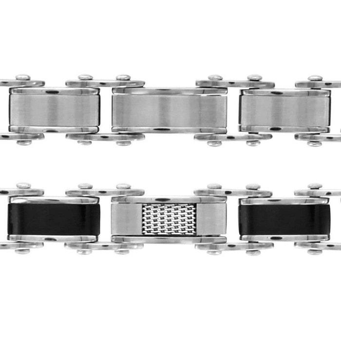 Bracelet 20,5 cm longueur réglable double fermoir réversible 5,7 mm coté lisse maille quadrillage acier inoxydable couleur unique So Chic Bijoux | La Redoute