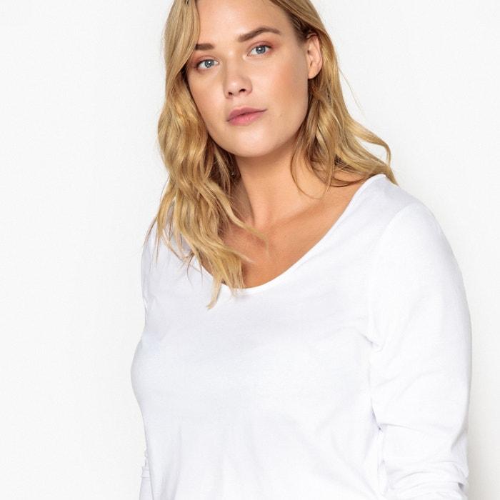lote 2 manga Camiseta de cuello con de CASTALUNA redondo larga 74fqxF