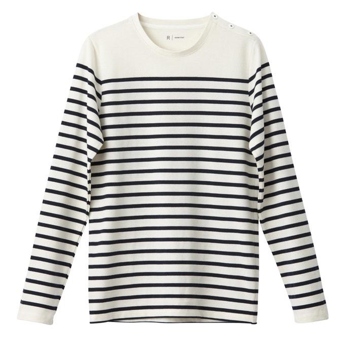 Imagen de Camiseta estilo marinera de manga larga, cuello redondo, 100% algodón R essentiel