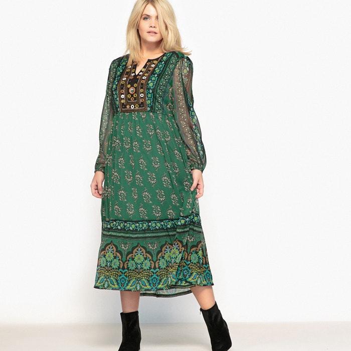 afbeelding Bedrukte lange jurk met lange mouwen CASTALUNA