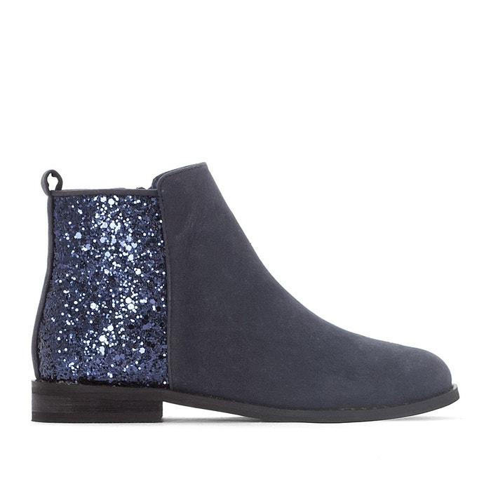 Boots cuir talon paillettes - La Redoute Collections - Bleu MarineLa Redoute Collections ndISq