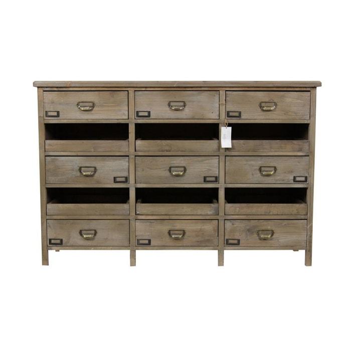 meuble semainier chiffonnier grainetier bois 12 tiroirs marron decoration d. Black Bedroom Furniture Sets. Home Design Ideas