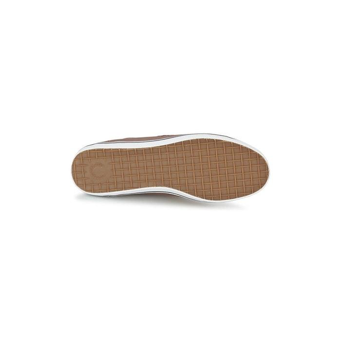 Chaussures kingston cuir marron marron, bleu marine et blanc Fred Perry