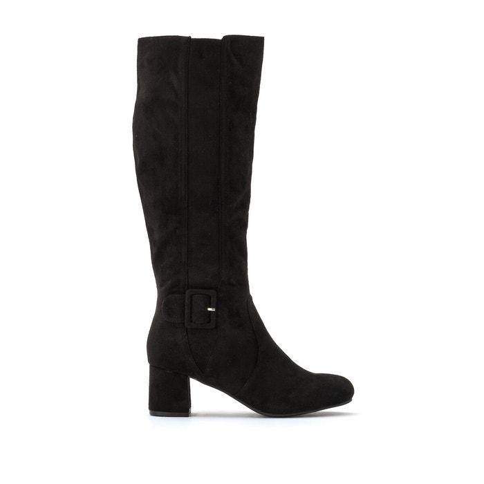 Knee-high boots with block heel in wide