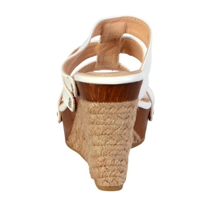 Mules compensée femme blanc blanc Enza Nucci