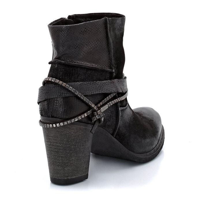 Boots à talons urlo, cuir de chèvre noir Mjus