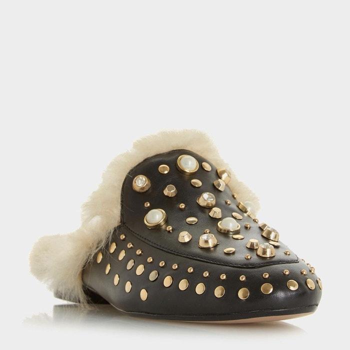 Mocassins ornés de perles avec arrière ouvert - gossip noir cuir Dune London