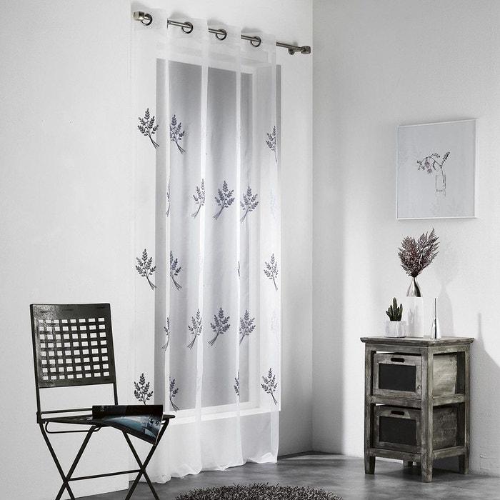 voilage pr t poser 140x240 cm nino blanc et gris decoratie la redoute. Black Bedroom Furniture Sets. Home Design Ideas