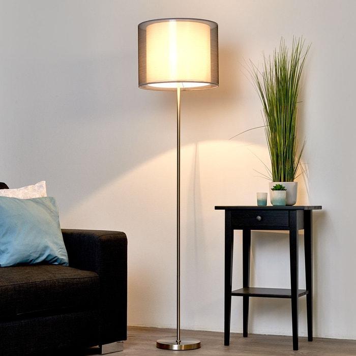 magnifique lampadaire nica avec abat jour gris gris blanc nickel mat lampenwelt la redoute. Black Bedroom Furniture Sets. Home Design Ideas