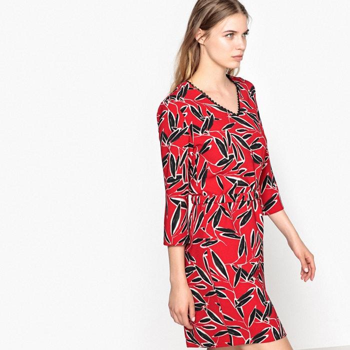 afbeelding Bedrukte korte jurk met 3/4 mouwen SUNCOO