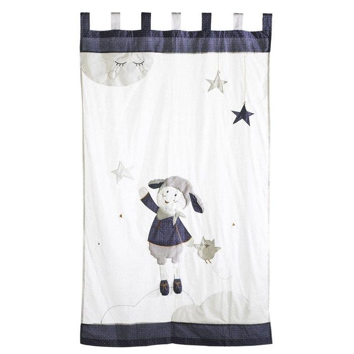 Rideau à pattes 105 x 180 cm enfant blanc et bleu merlin sauthon ...